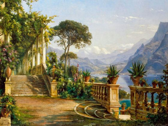 Aagaard, Carl Frederic: Lodge on Lake Como. Scenic Fine Art Print/Poster. Sizes: A4/A3/A2/A1 (003158)